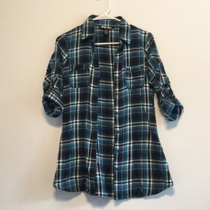 Tops - Fitted blue flannel